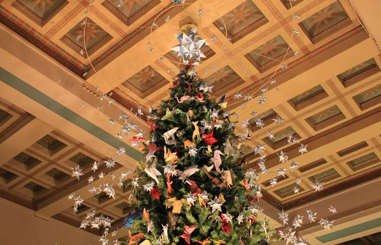 Guideposts: This tree at the American Museum of Natural History is festooned with origami models inspired by the items in the museum's exhibitions.